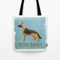 german shepherd Tote Bags featuring German Shepherd by 52 Dogs
