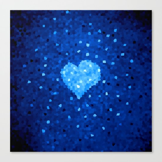 Winter Blue Crystallized Abstract Heart Canvas Print