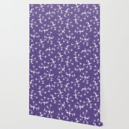Floral Fireworks - Ultra Violet Botanical Pattern Wallpaper