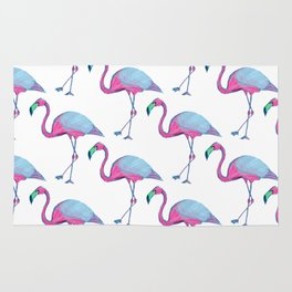 Pink Flamingos with blue wings Rug