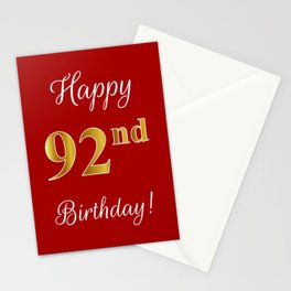 """Elegant """"Happy 92nd Birthday!"""" With Faux/Imitation Gold-Inspired Color Pattern Number (on Red) Stationery Cards"""