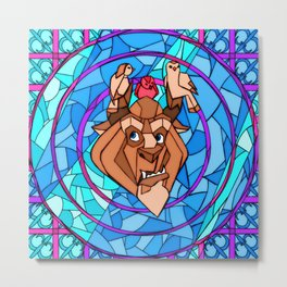 Stained Glass Beast Metal Print