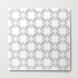 Geometric Orbital Spot Circles In Pastel Grey & White Metal Print