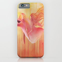 Orange dolphin with mermaid girl swimming in ocean iPhone Case