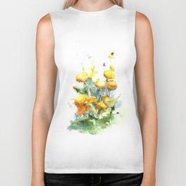 Watercolor yellow dandelion flowers Biker Tank