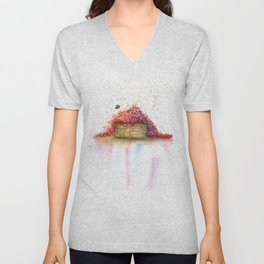 A Basket of Flowers Watercolor Unisex V-Neck