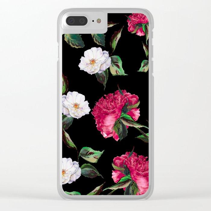 Dark Floral Pattern Clear iPhone Case
