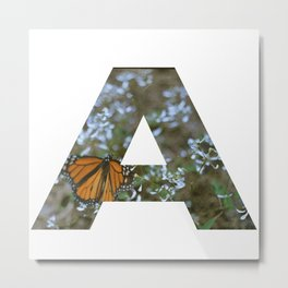 """""""A"""" Initial Butterfly Metal Print"""