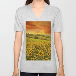 Red sunset over the rolling sunflowers and sunflower fields of Tuscany, Italy Unisex V-Neck