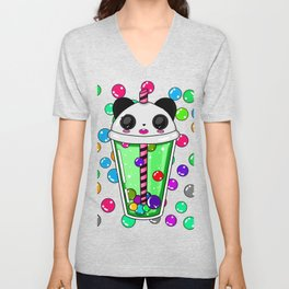 Bubble tea panda Unisex V-Neck