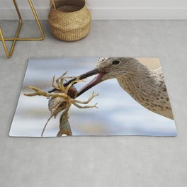 Watercolor Bird, Willet 07, Eating Rusty Crayfish, Longmont, Colorado, Hearty Snack Rug