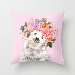 Baby Polar Bear with Flowers Crown Throw Pillow