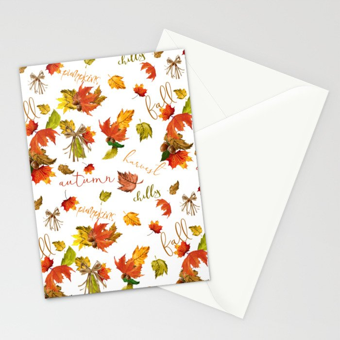 Autumn Leaves Hello Fall! Stationery Cards