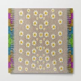 Star fall of fantasy flowers on pearl lace Metal Print