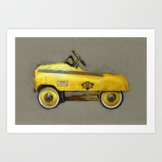 Yellow Taxi Pedal Car Art Print