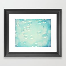 Bubble Photography, Laundry Room Soap Bubbles, Aqua Teal Bathroom Photography Framed Art Print