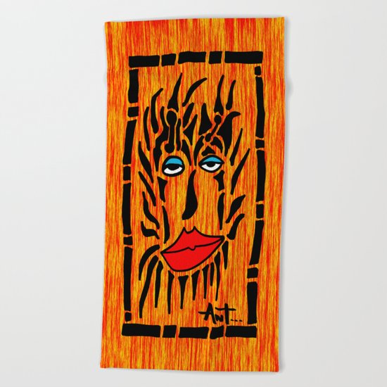 Lion Face Beach Towel