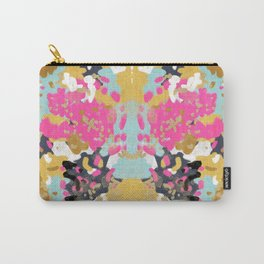 Laurel - Abstract painting in a free style with bold colors gold, navy, pink, blush, white, turquois Carry-All Pouch