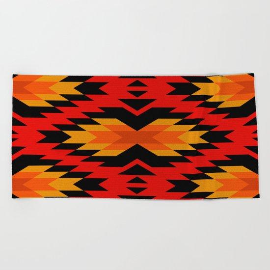 Tribal pattern - red Beach Towel