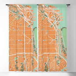 Buenos Aires city map orange Blackout Curtain
