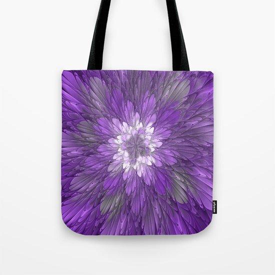 Psychedelic Purple Flower, Fractal Art Tote Bag