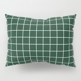Phthalo green - green color - White Lines Grid Pattern Pillow Sham