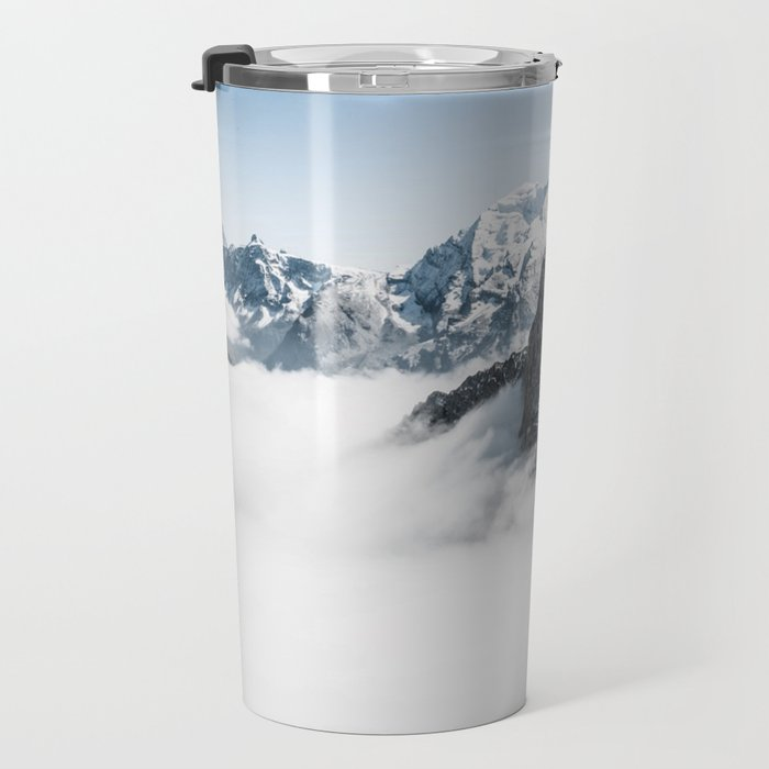 Mountain Tops Above Clouds And Snow Travel Mug