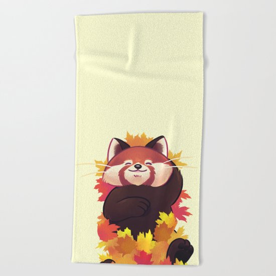 Relaxing Red Panda Beach Towel