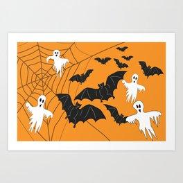 Flying Ghosts & Bats Halloween orange Art Print