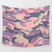 military Wall Tapestries featuring Pink Military Camouflage Pattern by SW Creation