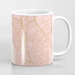 Pink and gold Toulouse map, France Coffee Mug