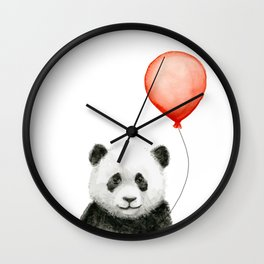 Panda and Red Balloon Baby Animals Watercolor Wall Clock