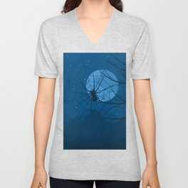 Spider at night Unisex V-Neck