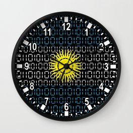 digital Flag (Argentina) Wall Clock