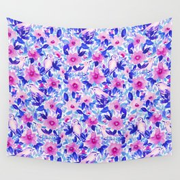 Birds n Flowers Blue Wall Tapestry