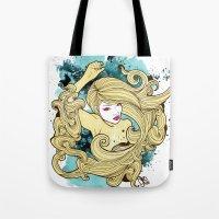 geisha Tote Bags featuring Geisha by Geo Law