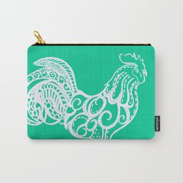 Aqua rooster drawing, drawing in aqua, drawing of a chicken Carry-All Pouch