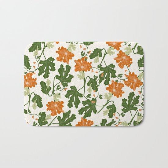 Orange Vintage Flower Pattern Bath Mat