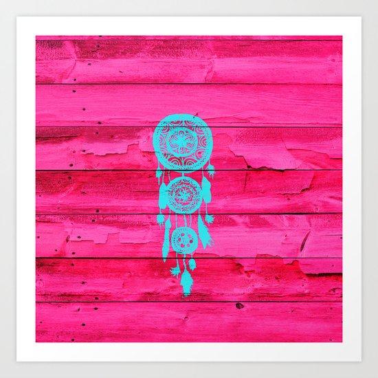 Hipster Teal Dreamcatcher Girly Pink Fuchsia Wood  Art Print