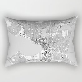 Seattle, Washington City Map, Black/White Rectangular Pillow