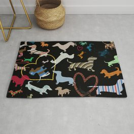 dachshund dog. love. pattern Rug