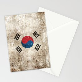 Vintage Aged and Scratched South Korean Flag Stationery Cards