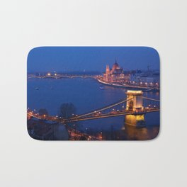Panorama of Budapest, Hungary, with the Chain Bridge and the Parliament. Bath Mat