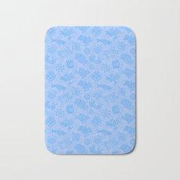 Polynesian Symbols in Mod Blue Bath Mat