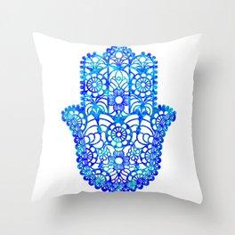 Blue Watercolor Hamsa Throw Pillow