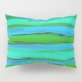 Apple Green, Seafoam, and Azure Blue Stripes Abstract Pillow Sham