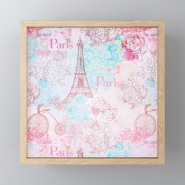 I love Paris - Vintage  Shabby Chic in pink - Eiffeltower France Flowers Floral Framed Mini Art Print