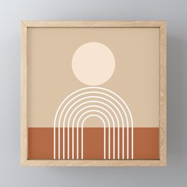 Geometric Lines in Terracotta and Beige 47 (Sun and Rainbow abstraction) Framed Mini Art Print