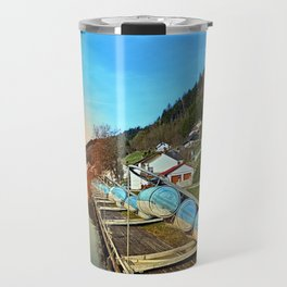 Pontoon landing stages in the harbour | waterscape photography Travel Mug