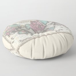 1855 Colton Map of the World on Mercator Projection Floor Pillow